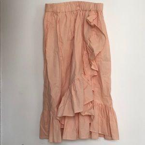 High waisted pink ruffle skirt
